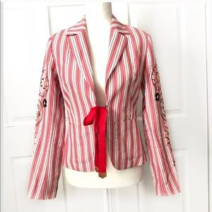 OILILY 38 STRIPE EMBROIDERED Blazer Open Floral